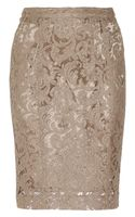 Burberry Cotton Blend Lace Pencil Skirt