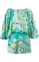 Emilio Pucci Gathered Mix Print Blouse