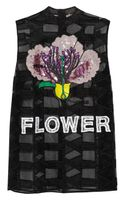 Christopher Kane Appliquéd and Embellished Tulle Top