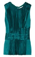 Oscar De La Renta For The Outnet Pleated Silk-charmeuse Blouse