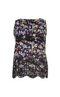 River Island Black Floral Lace Insert Shell Top - Lyst