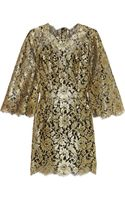 Dolce & Gabbana Swarovski Crystalembellished Metallic Lace Mini Dress - Lyst