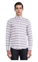 Naked & Famous Regular Shirt Gauze Stripes Dots