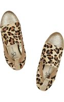 Yosi Samra Glitterfinished Leopardprint Calf Hair Slippers - Lyst