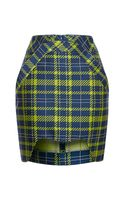 Antonio Berardi Neon Printed Plaid Mini Skirt