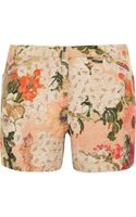 Tory Burch Edith Floral-print Slub-faille Shorts
