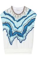 3.1 Phillip Lim Embellished Printed Cotton and Silk Top