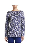 St. John Collection Metallic Floral Jacquard Knit Bateauneck Tunic with Side Slits - Lyst