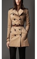 Burberry Mid Length Leather Trim Trench Coat