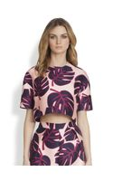Mother Of Pearl Cotton Silk Structured Leafprint Cropped Top - Lyst