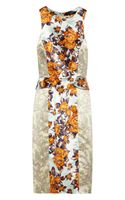 Suno Printed Silk Peplum Dress
