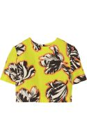 Jonathan Saunders Bibbi Cropped Tulip Print Slub Cotton Blend Top - Lyst