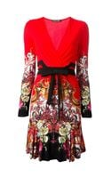 Roberto Cavalli Printed Vneck Dress - Lyst