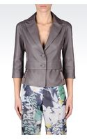 Emporio Armani Singlebreasted Jacket in Nappa Leather with Threequarter Sleeves