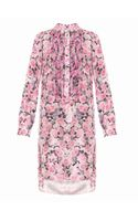 Adam Lippes Rose Print Silk Dress - Lyst