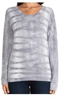 Monrow Fish Bone Tie Dye Crew Neck Sweatshirt