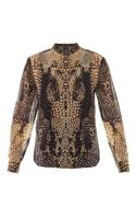 McQ by Alexander McQueen Printed Collarless Silk Shirt - Lyst