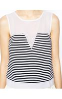 Asos Shell Top in Stripe Ponti with Chiffon Panel