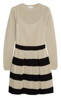 RED Valentino Striped Pointelleknit Cotton Mini Dress - Lyst