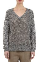 Barneys New York Marled Open-knit Sweater - Lyst