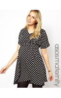 Asos Maternity Exclusive Spot Skater Dress with Pleating