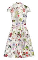 Oscar de la Renta Floral and Dotprint Cotton Shirt Dress