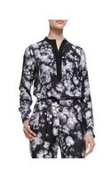 Rebecca Taylor Longsleeve Ghost Flower Top Blackwhite