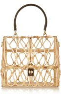 Dolce & Gabbana Leathertrimmed Rattan Shoulder Bag