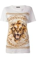 Balmain Lion and Chain Print T-Shirt - Lyst