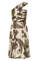 Giambattista Valli Oneshoulder Printed Silk Dress