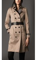 Burberry Long Gabardine and Bonded Leather Trench Coat