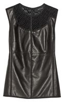 Derek Lam Guipure Lacetrimmed Leather and Jersey Top