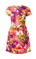 Valentino Rose Print Flared Dress - Lyst
