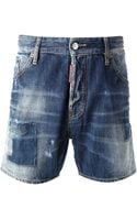 DSquared2 Washed Denim Shorts - Lyst
