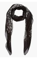 McQ by Alexander McQueen Black and White Speckle Print Monogram Scarf