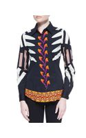Etro Modern Tribal Print Stretch Cotton Blouse Blackorange
