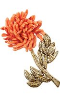 Oscar de la Renta Goldtone Crystal and Resin Brooch