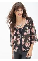 Forever 21 Rose Print  Crochet Top - Lyst