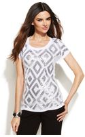 Inc International Concepts Shortsleeve Sequin Top - Lyst