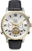 Saks Fifth Avenue Automatic Stainless Steel Leather Strap Watch - Lyst