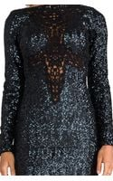Dress The Population Dani Long Sleeve Sequin Dress in Charcoal - Lyst