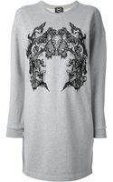 McQ by Alexander McQueen Embroidered Lace Sweatshirt Dress - Lyst