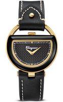 Ferragamo Goldplated Black Dial Watch 37mm - Lyst