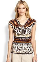 Lafayette 148 New York Capsleeve Animalprint Jersey Top - Lyst