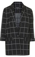 Topshop Window Pane Check Boyfriend Blazer - Lyst