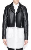T By Alexander Wang Cropped Leather Biker Jacket - Lyst