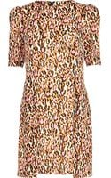 River Island Pink Graphic Leopard Print Shift Dress - Lyst