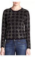 Alice + Olivia Rhinestone Diamond-patterned Wool Sweater - Lyst