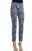 St. John Metallic Rose Floral Jacquard Knit Slim Ankle Pants with Back Slits - Lyst