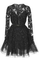 Elie Saab Embroidered Tulle Short Dress - Lyst